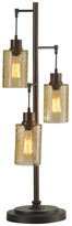 clear Table Lamp, Bronze Finish, Dimpled Glass Shade