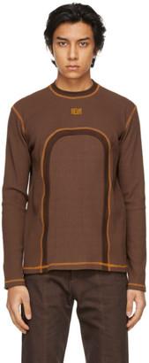 Phlemuns Brown Backless Long Sleeve T-Shirt