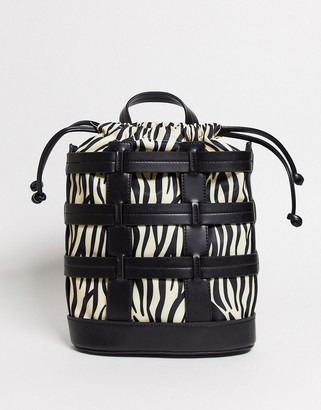 Skinnydip cage backpack in black zebra