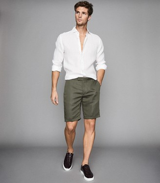 Reiss Cash - Linen Blend Tailored Shorts in Sage