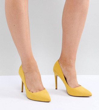 ASOS DESIGN Paris Wide Fit pointed high heeled pumps in yellow