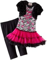 Knitworks mock-layer zebra tutu dress & capri leggings set - girls' 4-6x