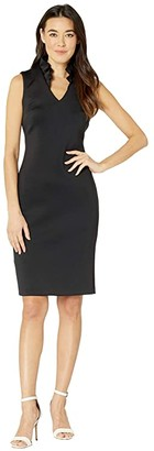 Calvin Klein Ruffle Neck Sheath Dress (Black) Women's Dress