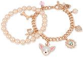 Betsey Johnson Rose Gold-Tone 2-Pc. Set Imitation Pearl and Dog Charm Bracelets