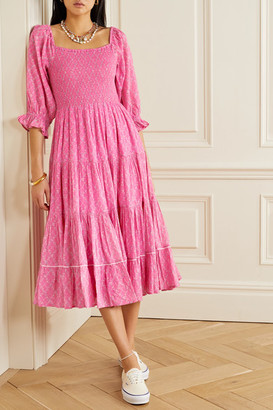 LoveShackFancy Rigby Shirred Floral-print Cotton-gauze Midi Dress - Bright pink