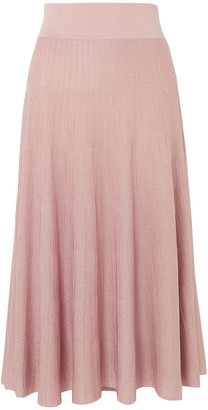 CASASOLA Pleated Metallic Ribbed-knit Midi Skirt