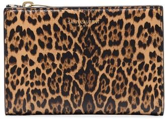 Saint Laurent Leopard-Print Bifold Wallet