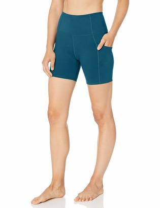 """Core 10 Women's Standard CoreComfort High Waist Yoga Short Side Pockets 5"""""""