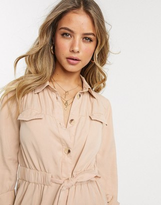 Miss Selfridge shirt dress with drawstring waist in camel