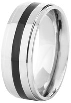 Ring Black West Coast Jewelry Men's Titanium Polished Resin Ring - Black (8mm)