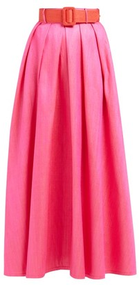 Marta Ferri - High-rise Silk-bourette Belted Maxi Skirt - Womens - Pink