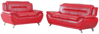 Us Furnishings Maisie 2-Piece Sofa and Love Seat Set, Red