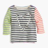 J.Crew Girls' gem heart striped combo T-shirt