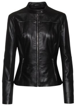HUGO BOSS Regular Fit Leather Jacket With Stretch Fabric Side Panels - Black