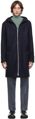 Kenzo Navy Wool Nylon Hooded Coat
