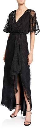 Aidan Mattox Sequin Lace Burnout Flutter-Sleeve High-Low Wrap Dress
