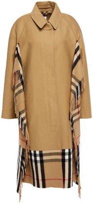 Burberry Fringed Checked Cashmere And Cotton-gabardine Coat