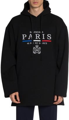Balenciaga Men's Oversized Hoodie Sweatshirt w/ Logo