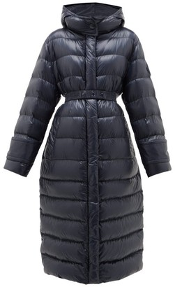 Moncler Cobalt Hooded Quilted-down Coat - Womens - Navy