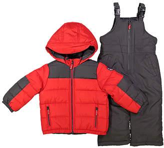 Osh Kosh Boys' Puffer Coats RED - Red Puffer Coat & Charcoal Snow Bib Set - Infant