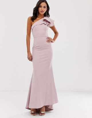 Jarlo one shoulder maxi dress with ruffle sleeve in pink