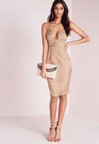 Missguided Harness Strap Bodycon Snake Jacquard Dress Taupe