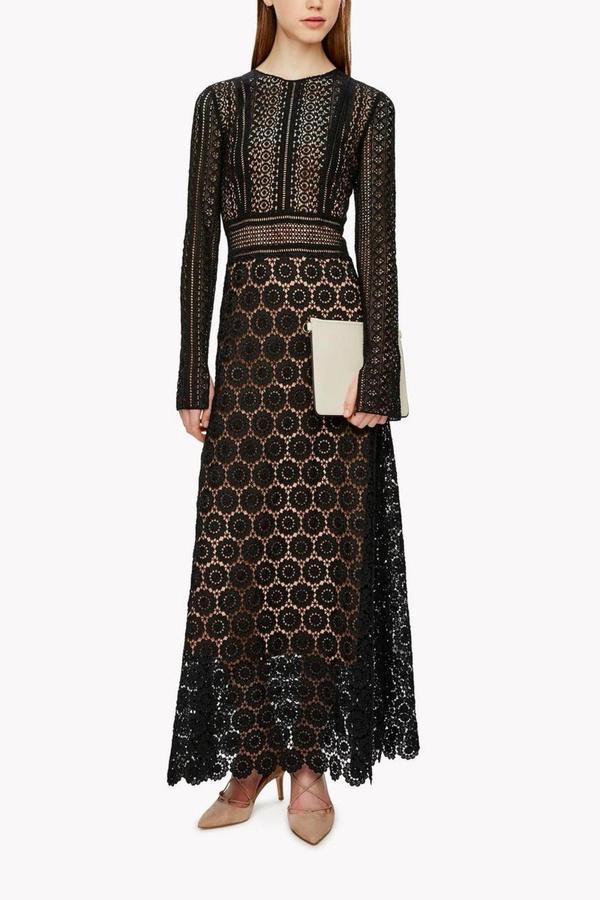 Theory Mixed Lace Maxi Dress