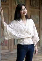 Embroidered Cotton Blouse, 'Surreal Thai'