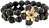 "1928 Jewelry ""Le Marais"" Gold-Tone Black Flower 2-Row Beaded Stretch Bracelet"