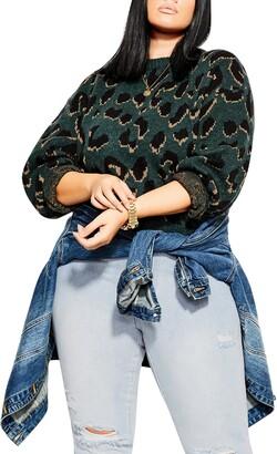 City Chic Wild Animal Print Sweater