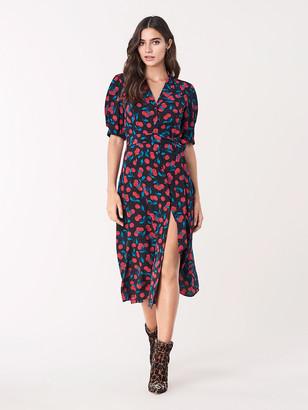 Diane von Furstenberg Lily Silk Crepe de Chine Belted Midi Dress