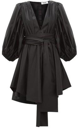 MSGM Balloon-sleeve Wet-look Satin Mini Dress - Womens - Black