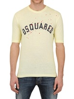 DSquared Faded Dyed Cotton Linen Jersey T-Shirt