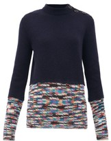 M Missoni Contrast-trim Cashmere-blend Sweater - Womens - Navy