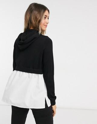 New Look 2 in 1 shirt & hoodie in black
