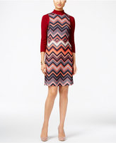 ECI Chevron-Print Layered-Look Shift Dress