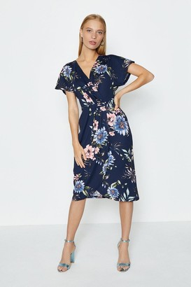 Coast Printed Wrap Midi Dress