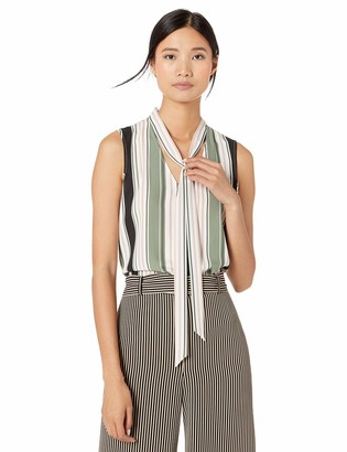 Nine West Women's Sleeveless V Crepe Blouse with Neck TIE Detail