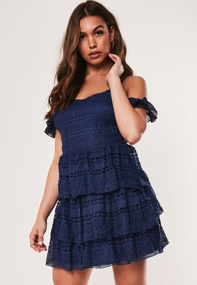 Missguided Blue Lace Cold Shoulder Tiered Mini Dress