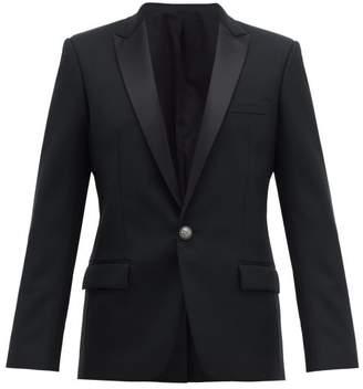 Balmain Single Breasted Satin Lapel Wool Blazer - Mens - Black