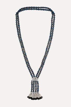 Bina Goenka Rhodium-finish 18-karat Gold, Pearl, Onyx And Diamond Necklace - Silver