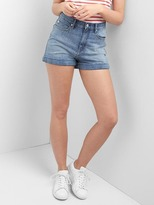 Super high rise denim roll shorts