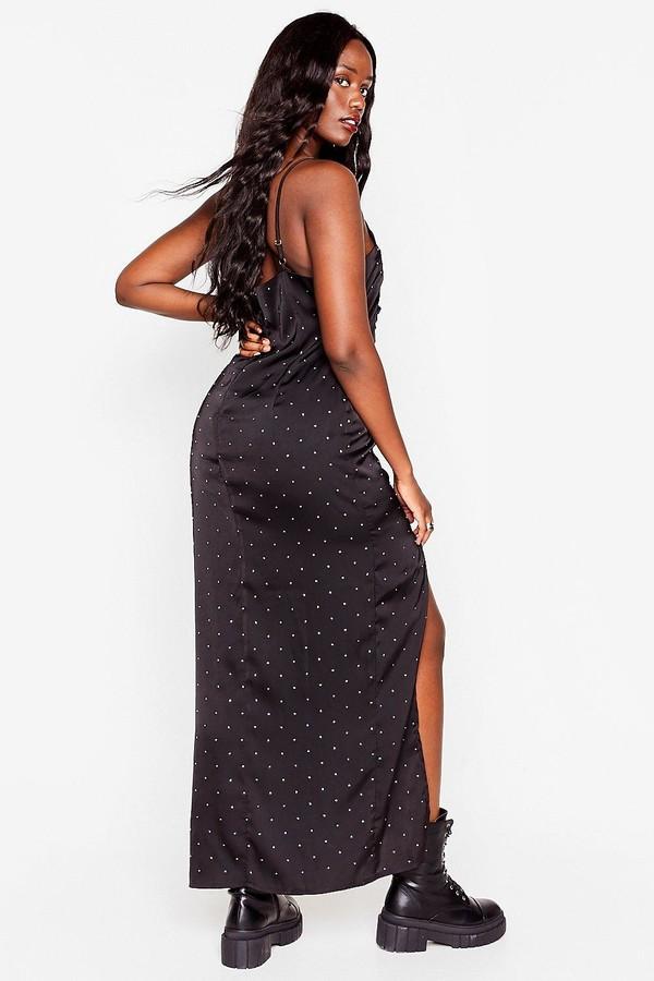 Thumbnail for your product : Nasty Gal Womens Plus Size Diamante Slit Maxi Dress - Black - 16