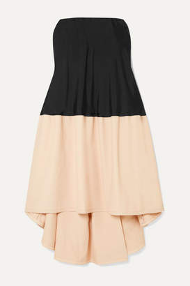 Tibi Strapless Satin-twill And Stretch-cady Dress - Black