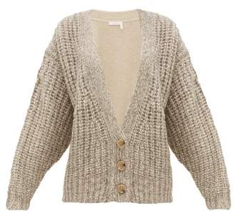 See by Chloe Bi-colour Alpaca-blend Cardigan - Womens - Beige Multi