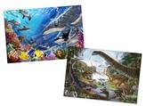 Melissa & Doug Animals Jigsaw Puzzles Set - Ocean and Dinosaurs