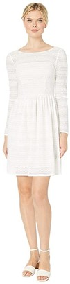 Adrianna Papell Long Sleeve Lace Fit Flare Dress (Ivory) Women's Dress