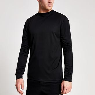 River Island Concept black slim fit long sleeve T-shirt