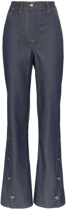 WRIGHT LE CHAPELAIN Button Detail Flared Jeans