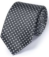 Charles Tyrwhitt Pewter Silk Classic Oxford Spot Tie Size OSFA